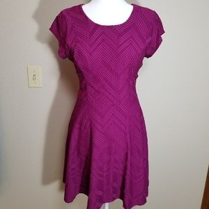 Magenta short sleeve mini dress, size medium